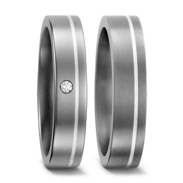 TitanFactory Trauringe Titan & Silber - 51050 & 51017