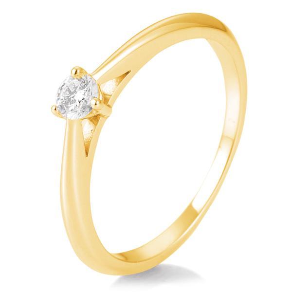 Breuning Solitärring Verlobungsring Gelbgold Diamant 0.150 ct. w/si 3er Krappe 41/86623