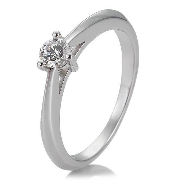 Breuning Solitärring Verlobungsring Weißgold Diamant 0.250 ct. w/si 3er Krappe 41/86624
