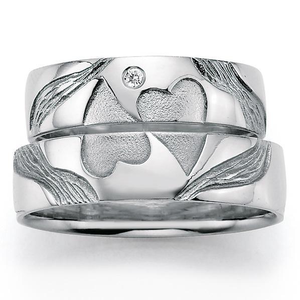 Signs of Love Trauringe//Eheringe aus 925 Silber mit Service /& Gravur HEART