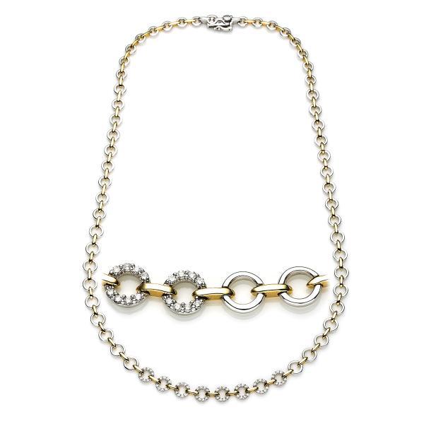 DiamondGroup Diamantcollier Collier 18 kt Weißgold & Gelbgold - 4A120WG8-1
