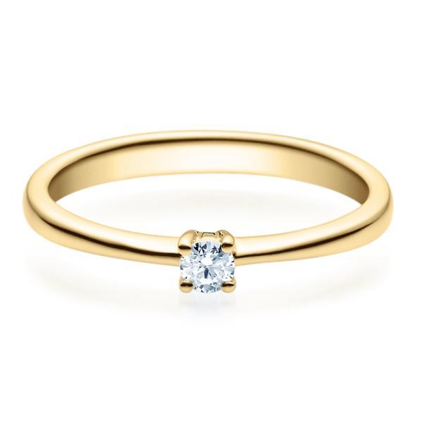 Rubin Verlobungsring 18008 Gelbgold Solitär Ring 0.100 ct.