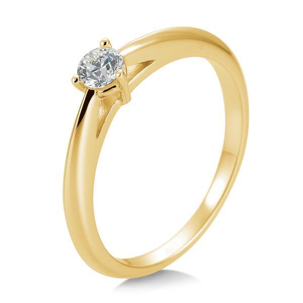 Breuning Solitärring Verlobungsring Gelbgold Diamant 0.200 ct. w/si 3er Krappe 41/85868
