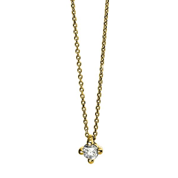 DiamondGroup Diamantcollier Collier 4er-Krappe 18 kt Gelbgold - 4D268G8-1
