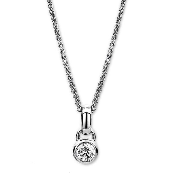 DiamondGroup Diamantcollier Collier Zarge 14 kt Weißgold - 4A146W4-1