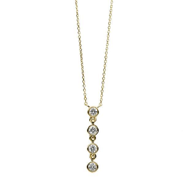 DiamondGroup Diamantcollier Collier Zarge 14 kt Gelbgold - 4B546G4-1