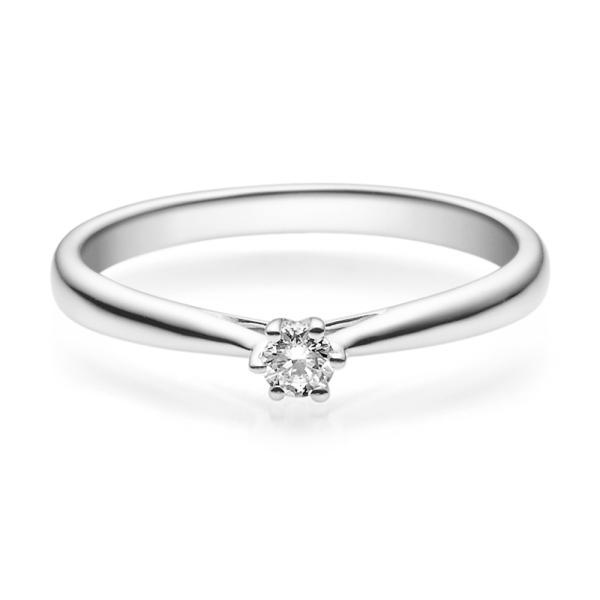 Rubin Verlobungsring 18007 Weißgold Solitär Ring 0,100 ct. tw/si