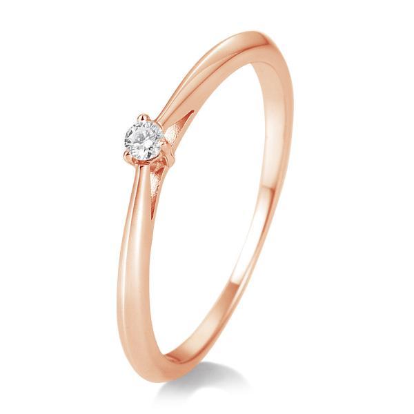 Breuning Solitärring Verlobungsring Rotgold Diamant 0.050 ct. w/si 3er Krappe 41/85768