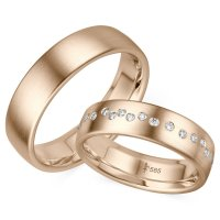 Giloy Trauringe TR-0-00028 & TR-1-00028 Blanche Roségold