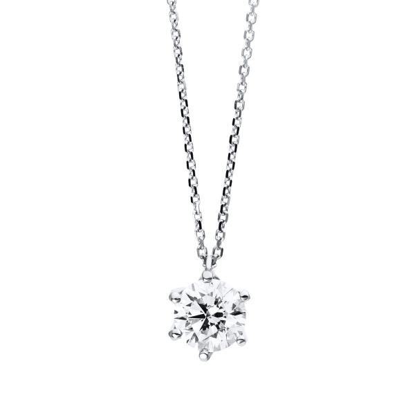 DiamondGroup Diamantcollier Collier 6er-Krappe 18 kt Weißgold, GIA2316365854 - 4D004W8-1