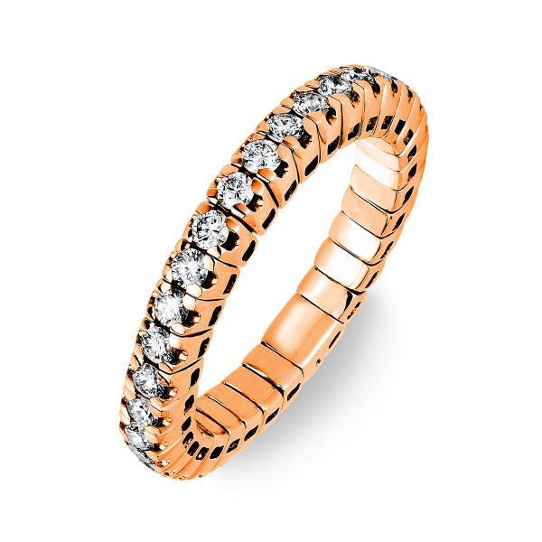 DiamondGroup Ring 4er-Krappe 18 kt Rotgold, Flex-band, variabel - 1J196R852-8